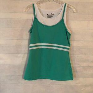 Tek Gear Women's Green & White Workout Top Size L
